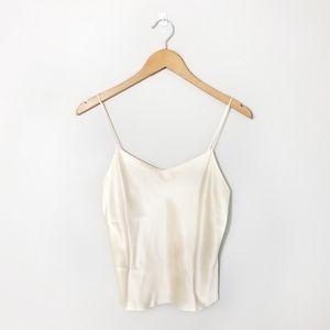 NEIMAN MARCUS Creme 100% Silk V Neck Camisole